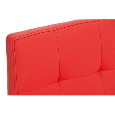 Taburete de Cocina o Bar MARTINA, estructura metálica en blanco, acolchado tapizado en piel rojo