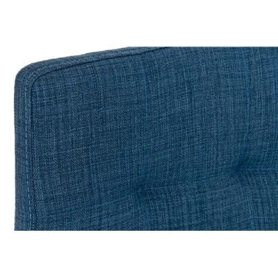 Taburete de Cocina o Bar MARTINA Tela, estructura metálica en negro, acolchado tapizado en tejido azul
