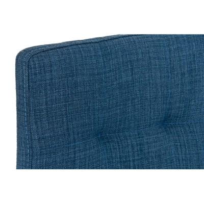 Taburete de Cocina o Bar MARTINA Tela, estructura metálica en blanco, acolchado tapizado en tejido azul
