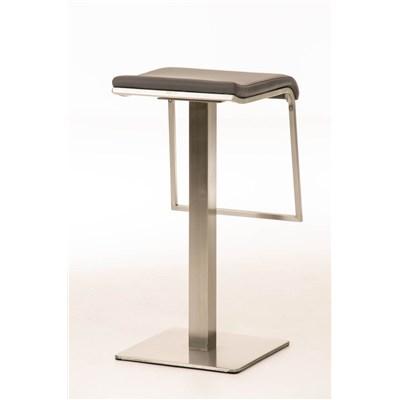 Taburete de Bar LAMA 78, estructura en acero, diseño ergonómico, en piel color gris