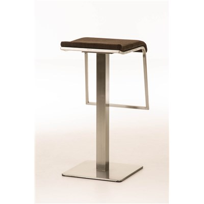 Taburete de Bar LAMA 78 Tela, estructura en acero, diseño ergonómico, en tejido color marrón