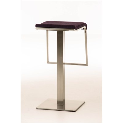 Taburete de Bar LAMA 78 Tela, estructura en acero, diseño ergonómico, en tejido color morado