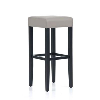 Taburete de Madera diseño LOLA, altura asiento 80cm en madera ngero y piel color gris