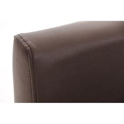 Taburete para Bar LUCIUS D, estructura metálica en blanco mate, altura asiento 76cm, en piel marrón
