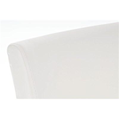 Taburete de madera MESSI, diseño clásico, asiento y respaldo acolchados en piel, color blanco