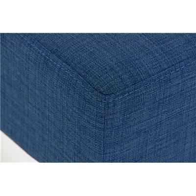 Taburete de Bar MARK 85 TELA, en acero inoxidable, altura asiento 85 cm, tapizado en tejido azul