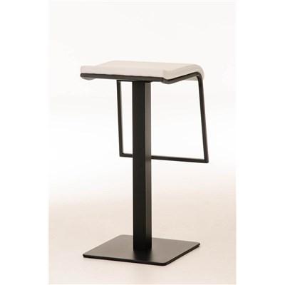 Taburete de Bar LAMA 78, estructura metálica en negro, diseño ergonómico, en piel color blanco