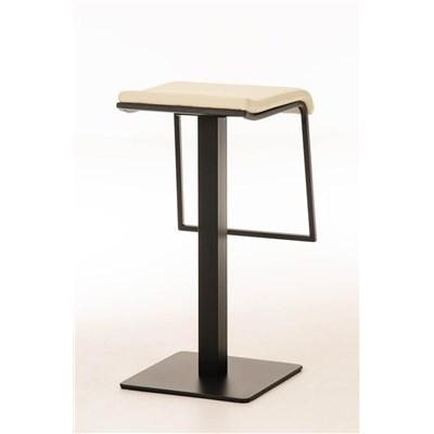 Taburete de Bar LAMA 78, estructura metálica en negro, diseño ergonómico, en piel color crema