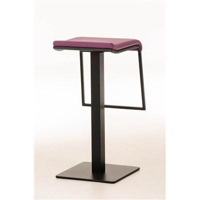 Taburete de Bar LAMA 78, estructura metálica en negro, diseño ergonómico, en piel color morado