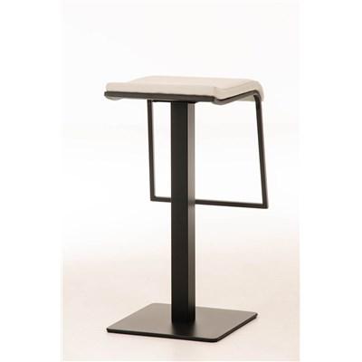 Taburete de Bar LAMA 78 Tela, estructura metálica en negro, diseño ergonómico, en tejido color blanco