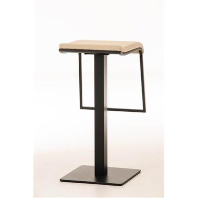 Taburete de Bar LAMA 78 Tela, estructura metálica en negro, diseño ergonómico, en tejido color crema