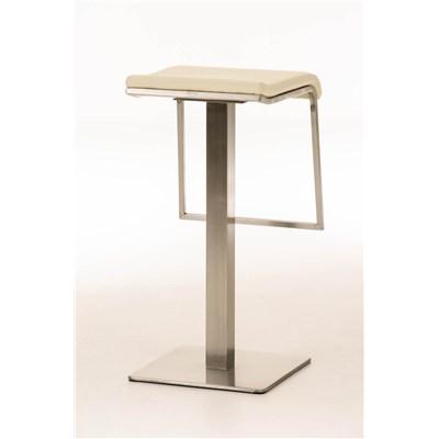 Taburete de Bar LAMA 85, estructura en acero, diseño ergonómico, en piel color crema