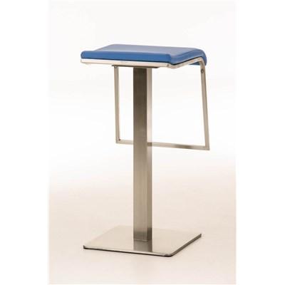 Taburete de Bar LAMA 85, estructura en acero, diseño ergonómico, en piel color azul