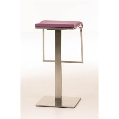 Taburete de Bar LAMA 85, estructura en acero, diseño ergonómico, en piel color morado