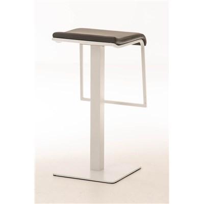 Taburete de Bar LAMA 78, estructura metálica en blanco, diseño ergonómico, en piel color gris