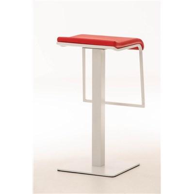 Taburete de Bar LAMA 78, estructura metálica en blanco, diseño ergonómico, en piel color rojo