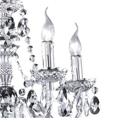 DEMO# Lámpara de Techo tipo ARAÑA, para 5 bombillas, fabricada en vidrio acrílico cromado