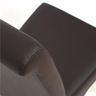 Lote 4 Sillas de Comedor TURIN, en piel color marrón y patas en madera oscuras