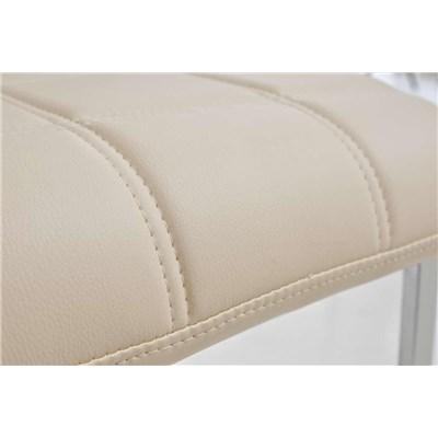 Lote 6 Sillas de Comedor o Cocina BIELSA, exclusivo diseño en costuras, en piel color crema