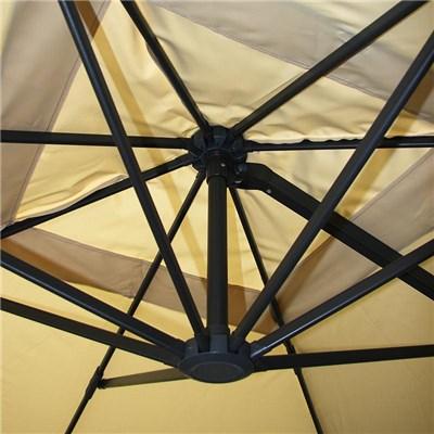 Parasol Sombrilla GIRATORIA IDRA, de 3 x 3 metros, Marrón, Ajustable, Cruz de suelo Incluida