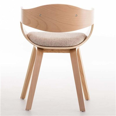 Lote de 6 sillas de Comedor BOLONIA, en Tela Crema, Estructura de Madera color Natural