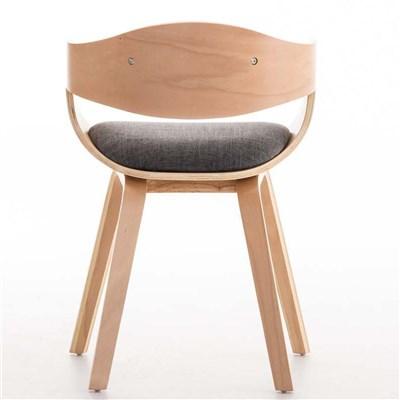 Lote de 6 sillas de Comedor BOLONIA, en Tela Gris Claro, Estructura de Madera color Natural