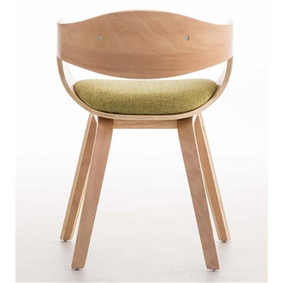 Lote de 6 sillas de Comedor BOLONIA, en Tela Verde, Estructura de Madera color Natural