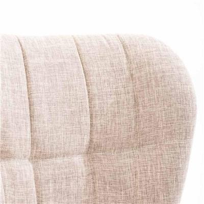 Lote de 6 sillas de Comedor PADUA, en Tela Crema, Patas de Madera color Natural