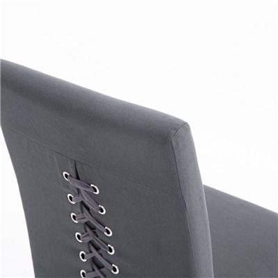 Lote de 6 Sillas de Comedor CASPIO, en Tela Gris Oscuro, Estructura y patas de madera