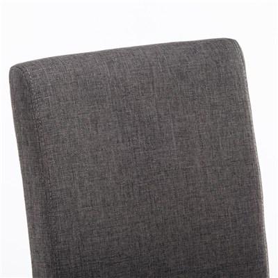 Silla de Comedor ADRIA, en Tela Gris Oscuro, Patas de Madera color Marrón Oscuro
