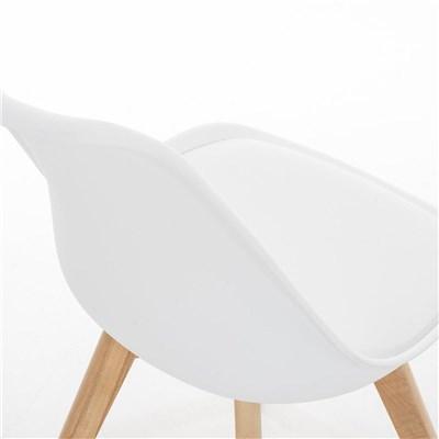 Lote de 6 Sillas de Comedor LOREN, Estructura en Plástico y Piel Blanca, Patas Claras