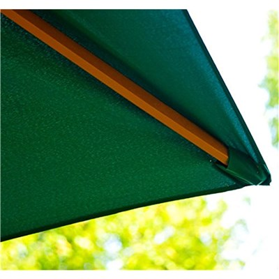 Sombrilla GARU 2 x 3 m, Estructura Madera, Resistente al Agua y Sol, Color Verde
