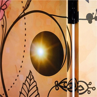 Biombo luminoso estilo FLORES,  Estructura de Madera, 180x160x2,5cm