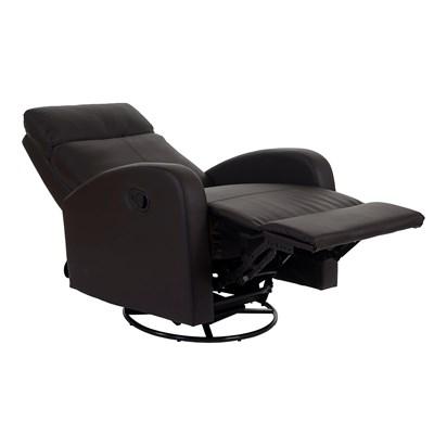 Sillón Relax KARTIA Premium, Piel Marrón, Reclinable y con Función Mecedora