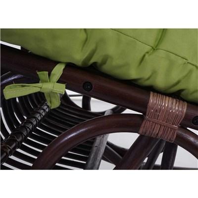 Mecedora de Mimbre DERBY, Estructura Marrón y Cojín Verde, Excelente Acolchado