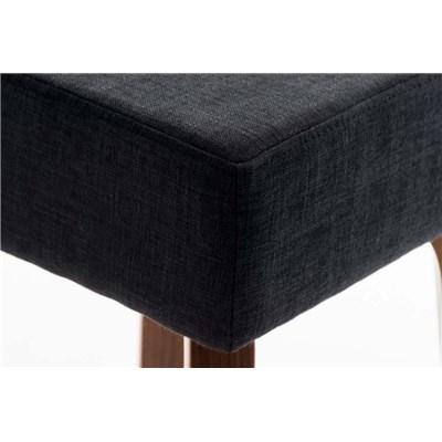 Taburete MORRIS, Estructura de Madera, en Tela color Negro y Patas color Nogal