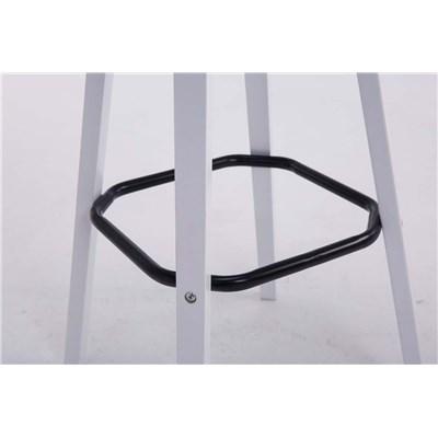 Taburete con Respaldo ROXIO, Estructura de Madera, en Piel color Negro y Patas Blancas