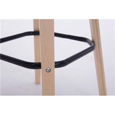 Taburete con Respaldo ROXIO, Estructura de Madera, en Piel color Negro y Patas Claras