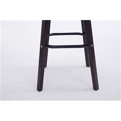 Taburete con Respaldo ROXIO, Estructura de Madera, en Piel color Negro y Patas Oscuras
