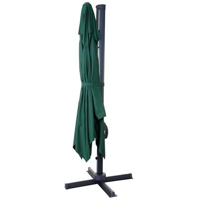 Parasol / Sombrilla HELIOS GIRATORIA, de 3 x 3 metros, Ajustable, Cruz de suelo Incluida, en Verde