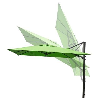 Sombrilla / Parasol TAHITI CON SOPORTE, de 3 x 3 metros, 100% Ajustable, Cruz de suelo Incluida, en Verde