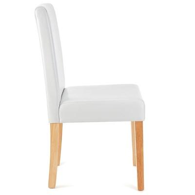 DEMO# Lote 4 Sillas de Comedor LITAU PIEL REAL, precioso diseño, Blancas, patas claras