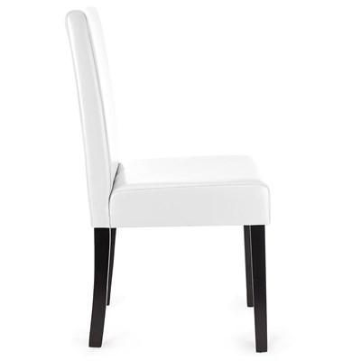 DEMO# Lote 4 Sillas de Comedor LITAU PIEL REAL, precioso diseño, Blanca y patas oscuras
