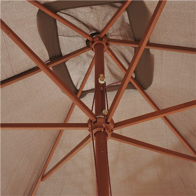 Sombrilla Rectangular HELA, 2x3 metros, Estructura Madera, Color Marrón