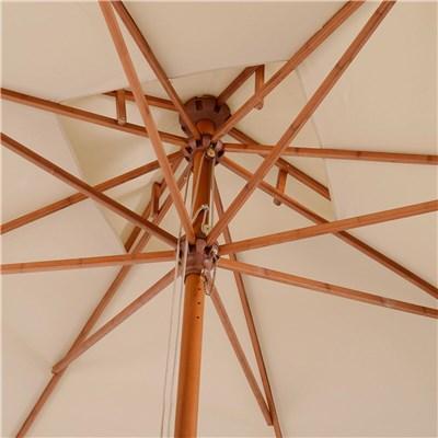 Sombrilla HARALD, 3x3 metros, Doble Techo, Estructura de Madera, color Crema