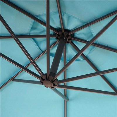DEMO# Sombrilla 3 Metros FELIA, Estructura Metálica, Cruz de Suelo, Color Azul