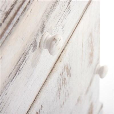 DEMO# Cómoda mesita de noche de 63x35x29cm, estilo vintage color Blanco