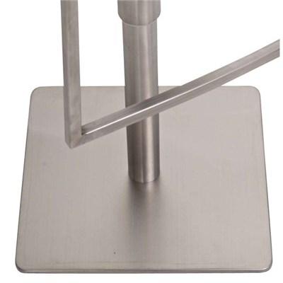 Taburete SEUL, en acero inoxidable y acolchado en polipiel gris