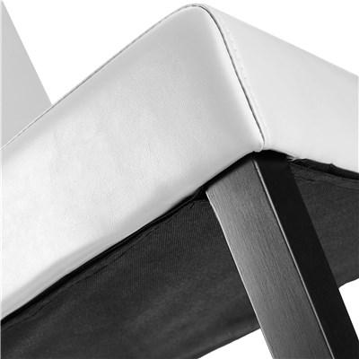 Lote 4 Sillas de Comedor LITAU PIEL REAL, precioso diseño, Blanca y patas oscuras