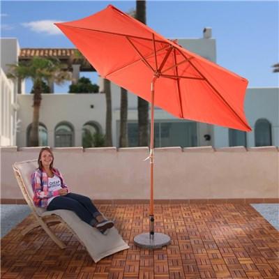 Sombrilla Paraguas modelo FLORIDA, dimensiones 3 m, en madera, con manivela, color terracota